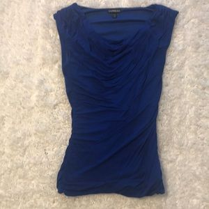 XS blue Express scoop neck ruched sleeveless top